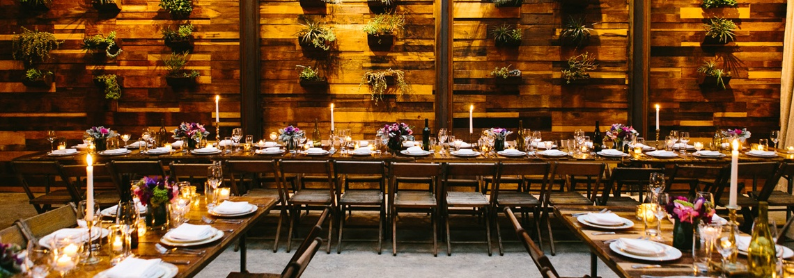 Brooklyn Winery Wedding Table Setup in Atrium