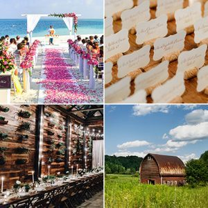 Wedding venue, beach, escort cards, barn
