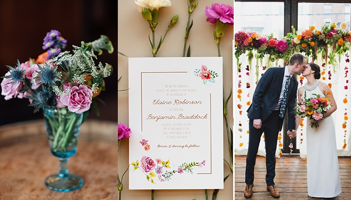 Light and Floral Wedding Invitations